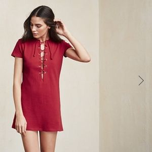 Reformation Caroline Red Lace Up Mini Dress Small